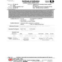 Étalonnage accrédité ISO-17025 avec données de test